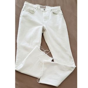 Everlane Off White High Waist Frayed Jeans